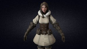 3D model rig animation medieval lady