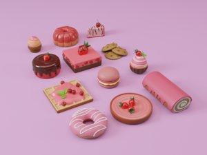 cake food dessert 3D