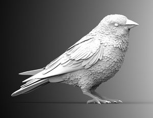 bird crow sculpture 3D