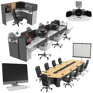 3D real office furniture