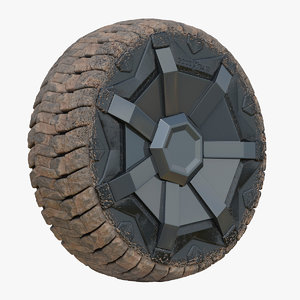 3D dirty tesla cybertruck wheel model