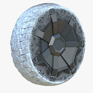 3D model snowy tesla cybertruck wheel