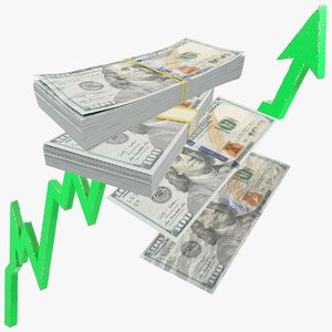 dollars bills graph banknotes 3D