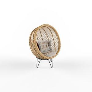 rattan cocoon chair 3D model