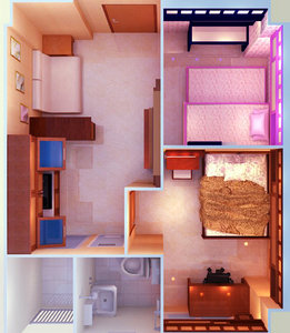 3D apartment interior model