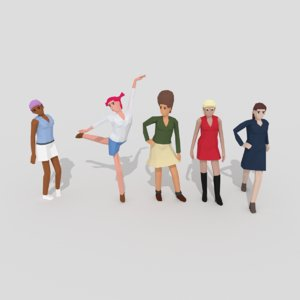 rigged female pack 3D