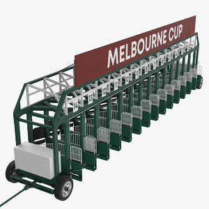 3D horse racing starting gates