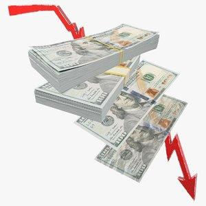 dollars bills graph banknotes 3D model