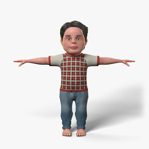 cute cartoon boy character model