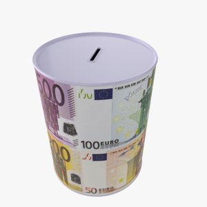3D euro money box tin