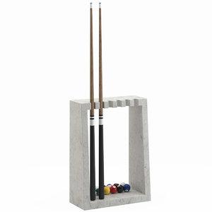 3D model billiard stick rack 02