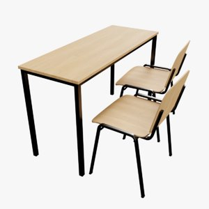 3D modern classroom desk model