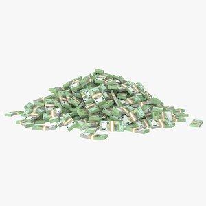 3D model 100 euros bill pile