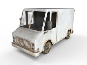 3D low-poly old generic van model