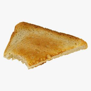 bread toast white triangle 3D model
