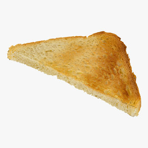 3D bread toast white triangle