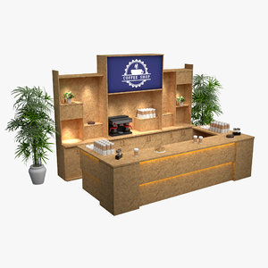 osb coffee shop bar desk 3D model