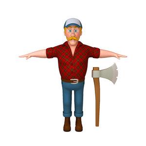 lumberjack cartoon 3D model