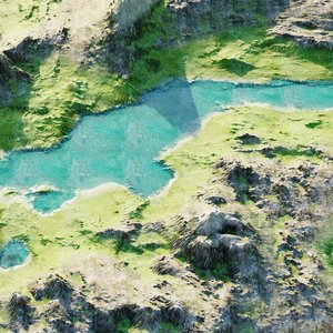 3D model lake mountains terrain