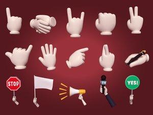 cartoon hands icons pack 3D model