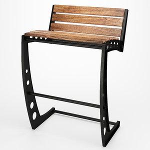 industrial style bar stool 3D model