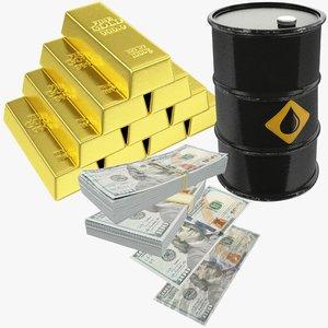 3D model dollars bars oil barrel