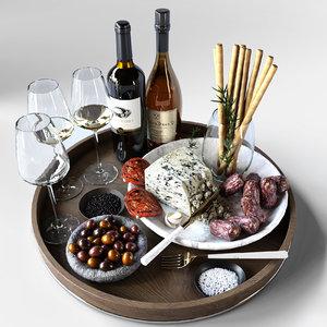 food cheese wine 3D model