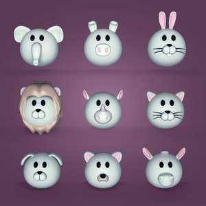 3D cartoon head animals model