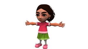 cute cartoon child girl 3D