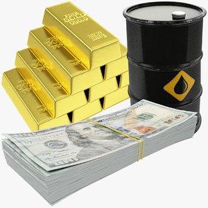 dollars banknotes bars oil barrel 3D model