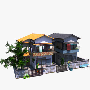3D japanese twin houses