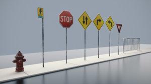 3D road signs props