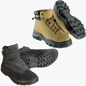 3D model realistic shoes 41 boots