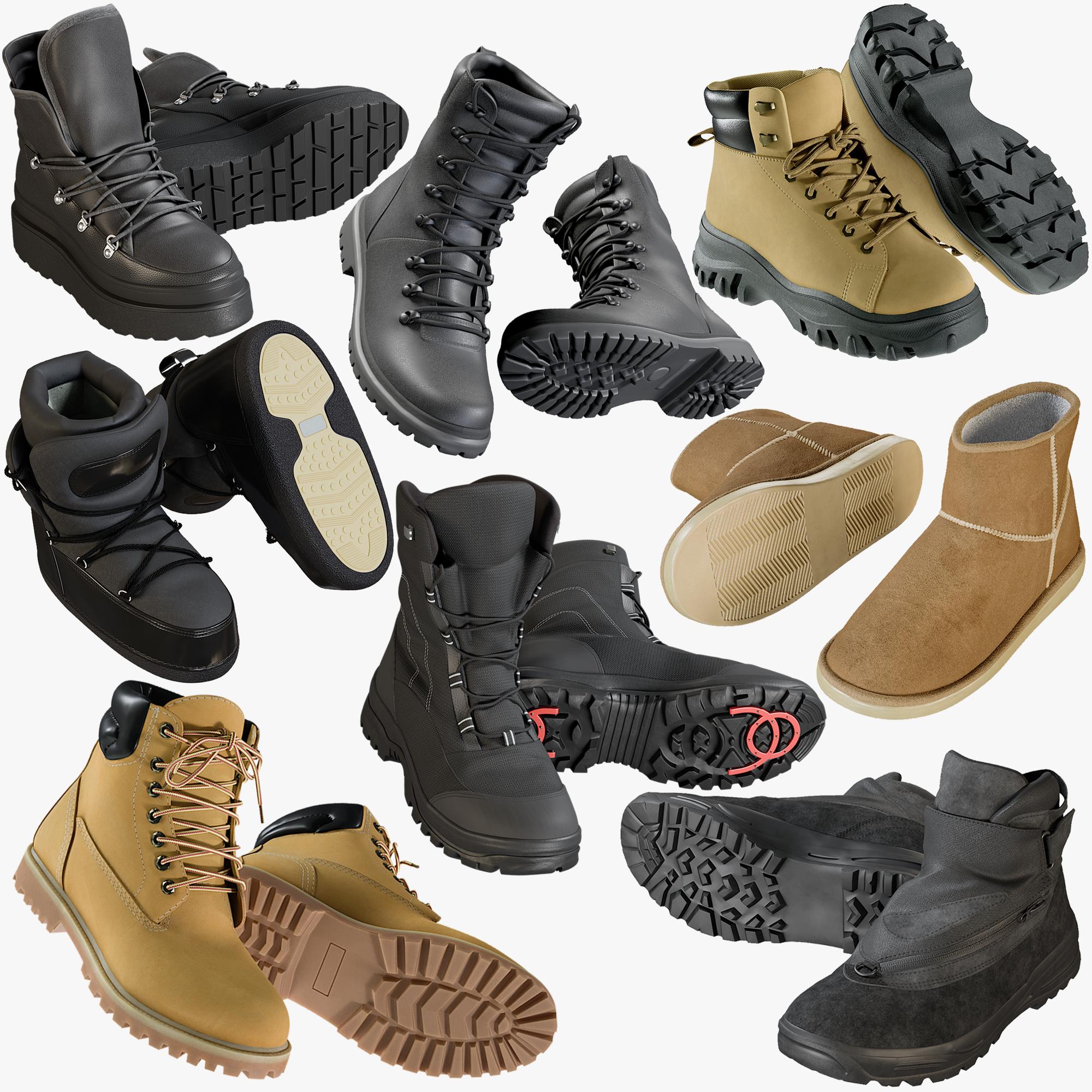 3D model realistic shoes 44 boots
