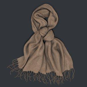 3D tweed scarf fringes model