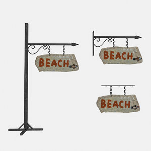 old stone beach sign 3D model