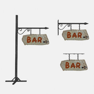 3D old stone bar sign model