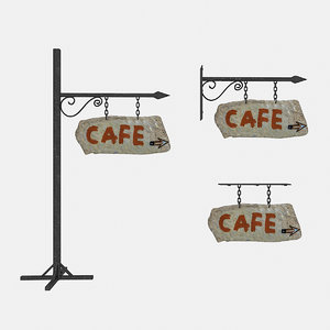 3D model old stone cafe sign