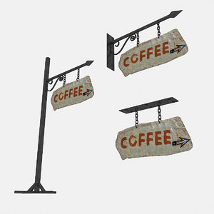3D old stone coffee sign model