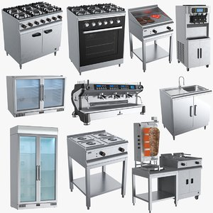 3D model commercial kitchen appliances
