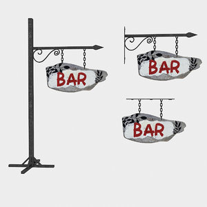 3D old wooden bar sign model