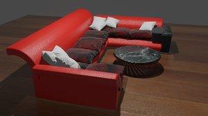 corner seat set furniture 3D model