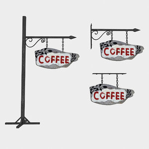 3D old wooden coffee sign