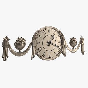 3D clock 01 antique model