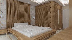 hotel room design 3D model