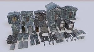 3D pack cemetery mausoleums tombs