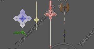 weapons axe dagger shield 3D