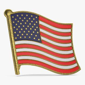 3D usa flag lapel pin