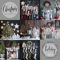Big set of Christmas and New Year decorations