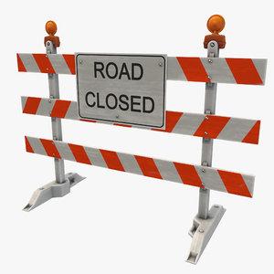 road closed sign 3D model